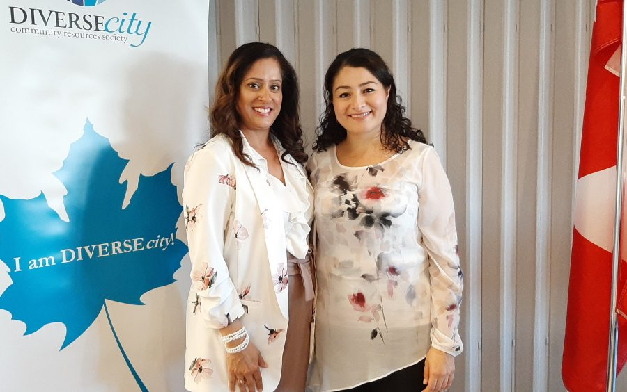 Neelam Sahota, CEO of DIVERSEcity, with Minister of Women and Gender Equality Maryam Monsef.