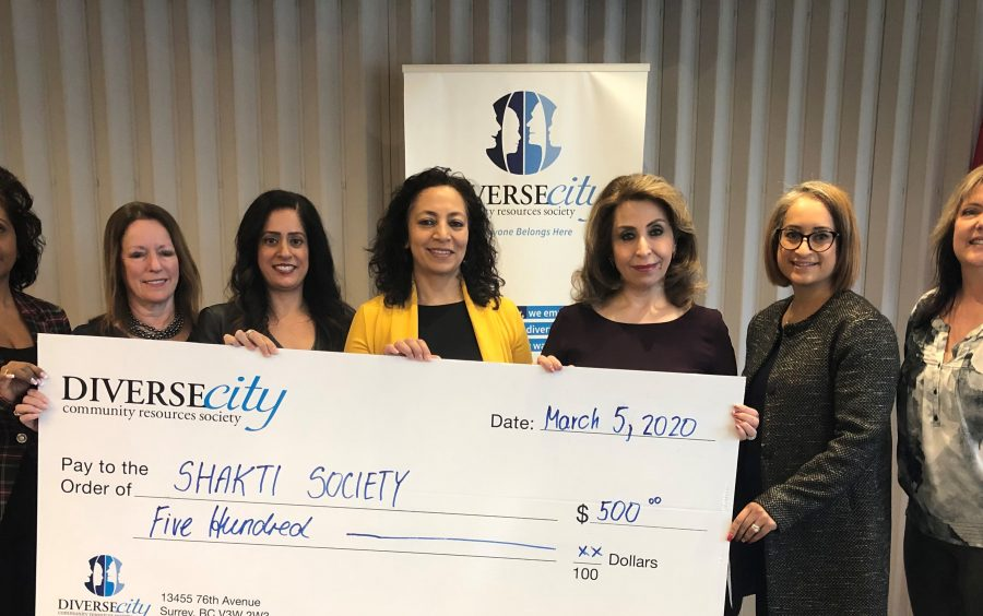DIVERSEcity presents a cheque for $500 to Shakti Society.